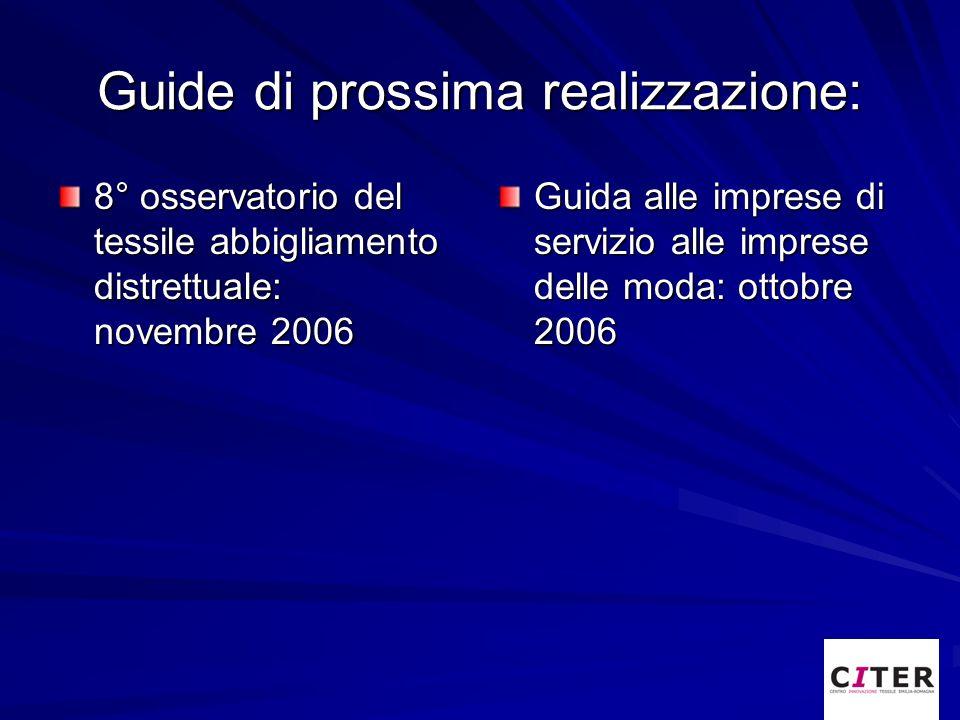 Guide di prossima realizzazione: 8° osservatorio del tessile abbigliamento distrettuale: novembre 2006 Guida alle imprese di servizio alle imprese del