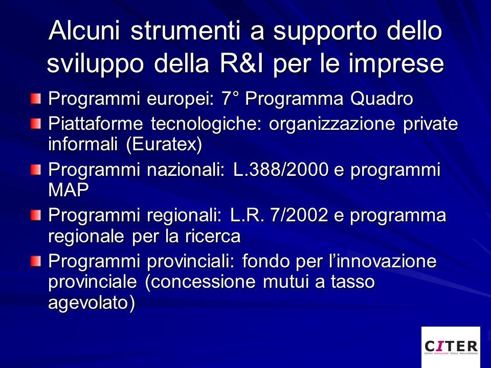 Alcuni strumenti a supporto dello sviluppo della R&I per le imprese Programmi europei: 7° Programma Quadro Piattaforme tecnologiche: organizzazione pr