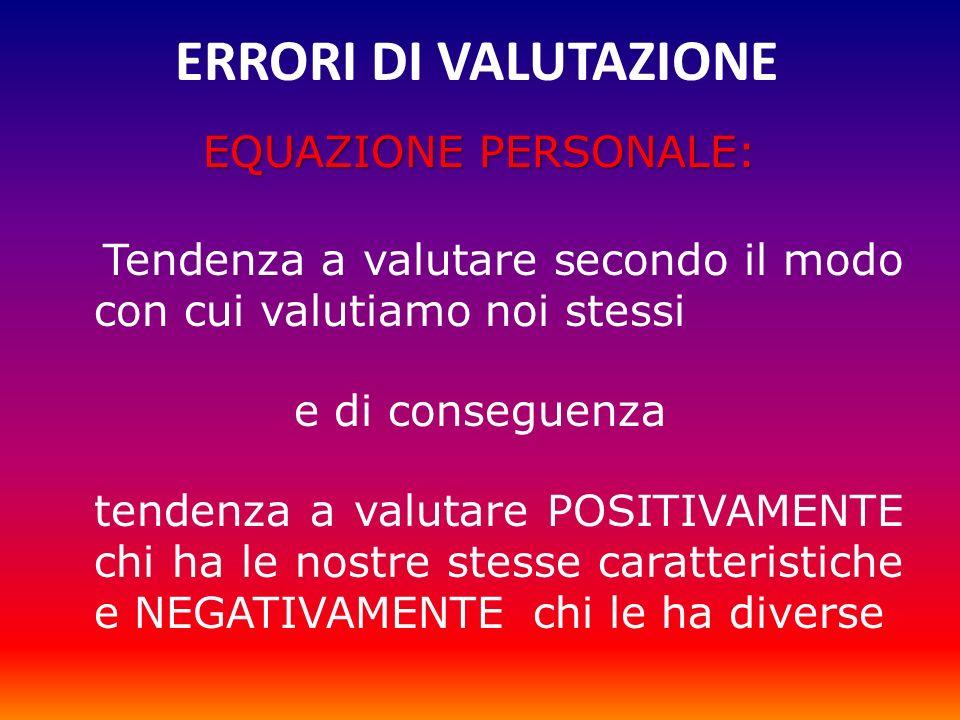 ERRORI DI VALUTAZIONE EQUAZIONE PERSONALE: Tendenza a valutare secondo il modo con cui valutiamo noi stessi e di conseguenza tendenza a valutare POSIT