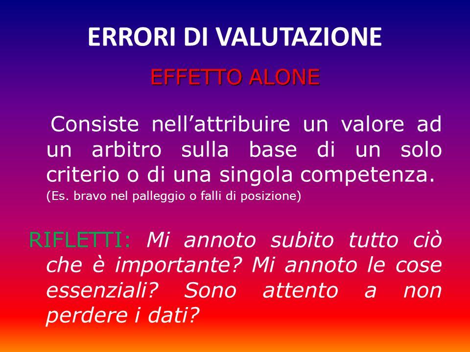 ERRORI DI VALUTAZIONE EFFETTO ALONE Consiste nellattribuire un valore ad un arbitro sulla base di un solo criterio o di una singola competenza. (Es. b