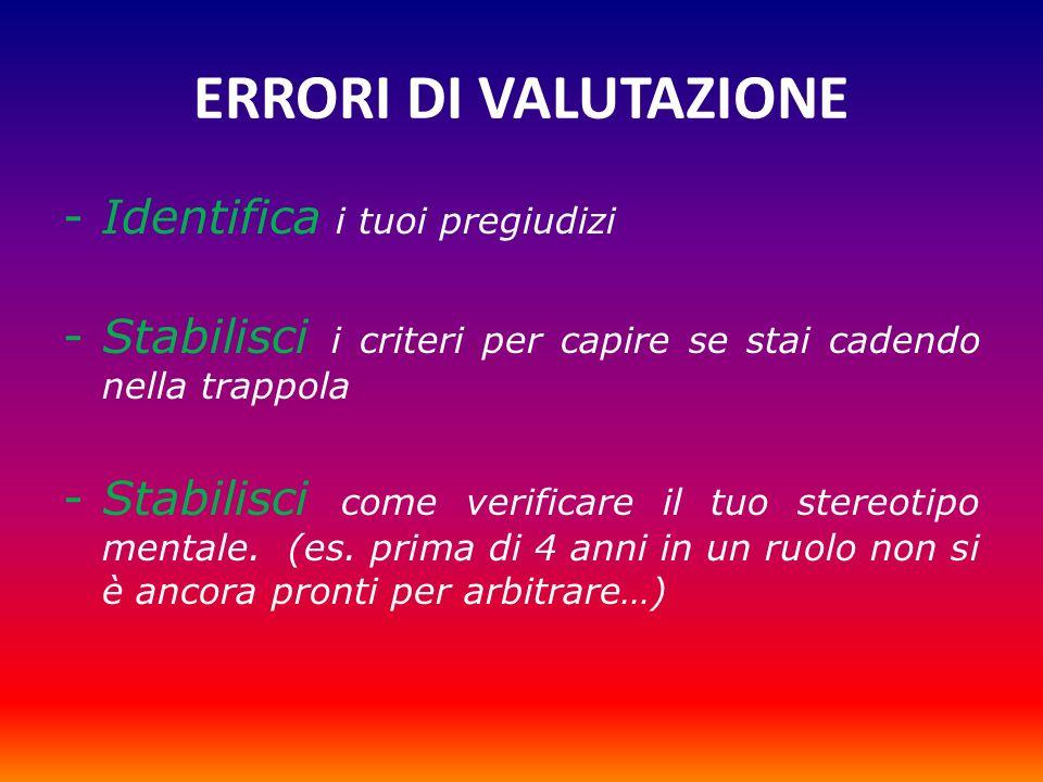 ERRORI DI VALUTAZIONE -Identifica i tuoi pregiudizi -Stabilisci i criteri per capire se stai cadendo nella trappola -Stabilisci come verificare il tuo