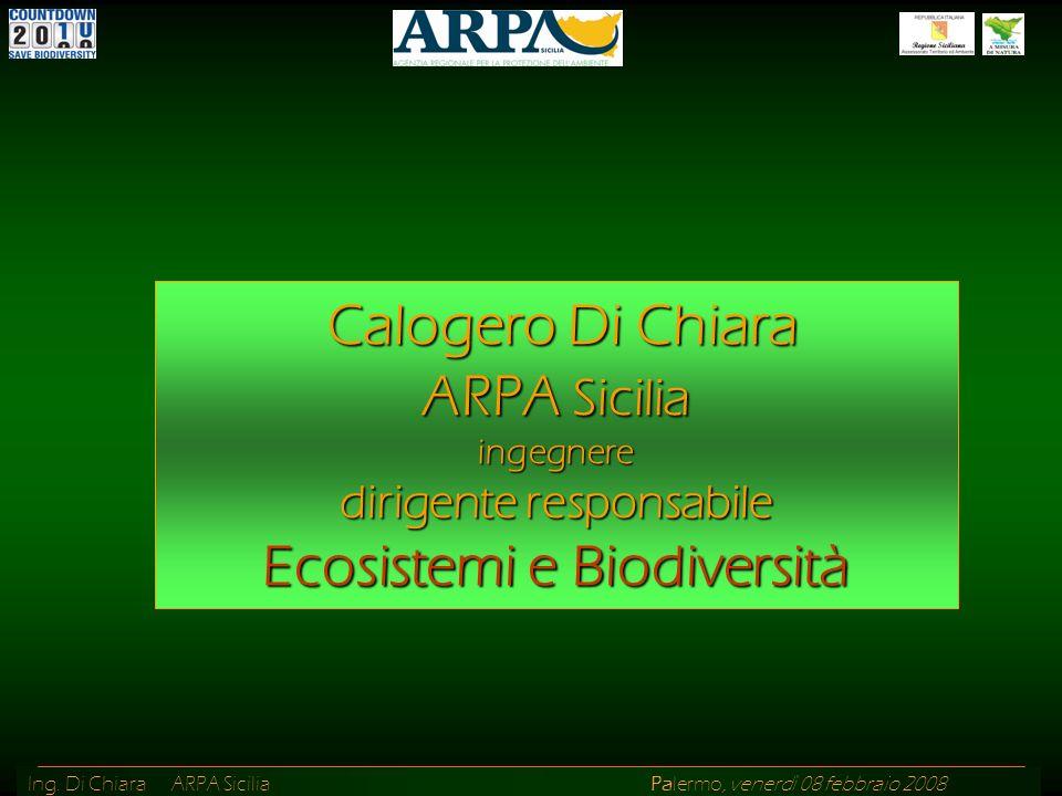 Ing. Di Chiara ARPA Sicilia Palermo, venerdì 08 febbraio 2008 Calogero Di Chiara ARPA Sicilia ingegnere dirigente responsabile Ecosistemi e Biodiversi