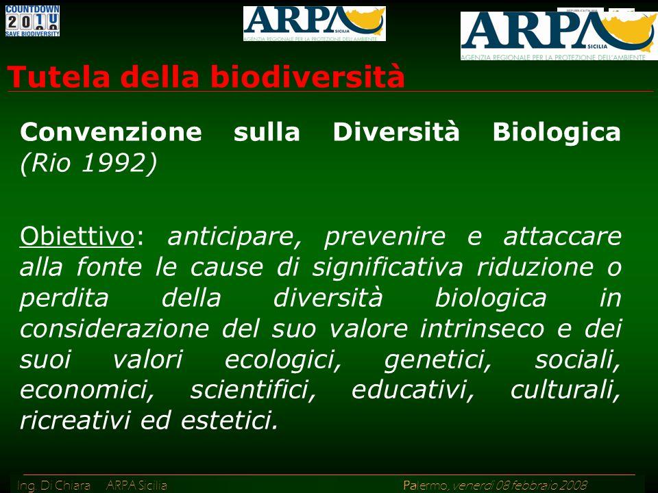 Ing. Di Chiara ARPA Sicilia Palermo, venerdì 08 febbraio 2008 Convenzione sulla Diversità Biologica (Rio 1992) Obiettivo: anticipare, prevenire e atta