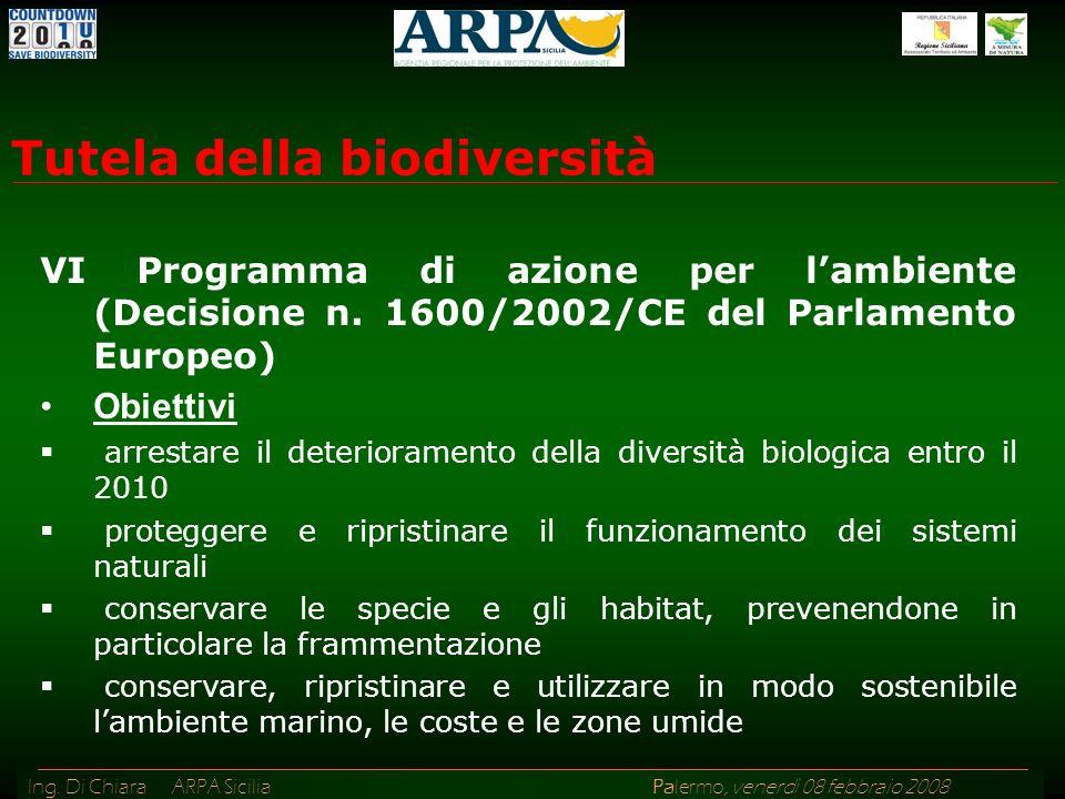 Ing. Di Chiara ARPA Sicilia Palermo, venerdì 08 febbraio 2008 VI Programma di azione per lambiente (Decisione n. 1600/2002/CE del Parlamento Europeo)