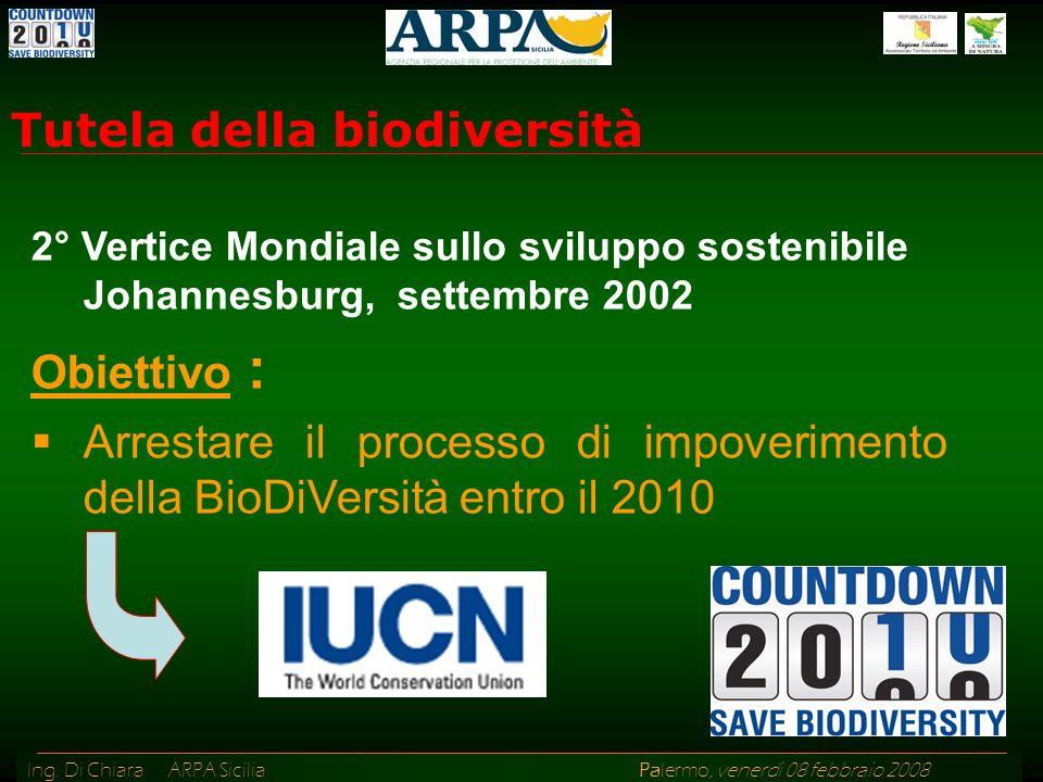 Ing. Di Chiara ARPA Sicilia Palermo, venerdì 08 febbraio 2008 2° Vertice Mondiale sullo sviluppo sostenibile Johannesburg, settembre 2002 Obiettivo :