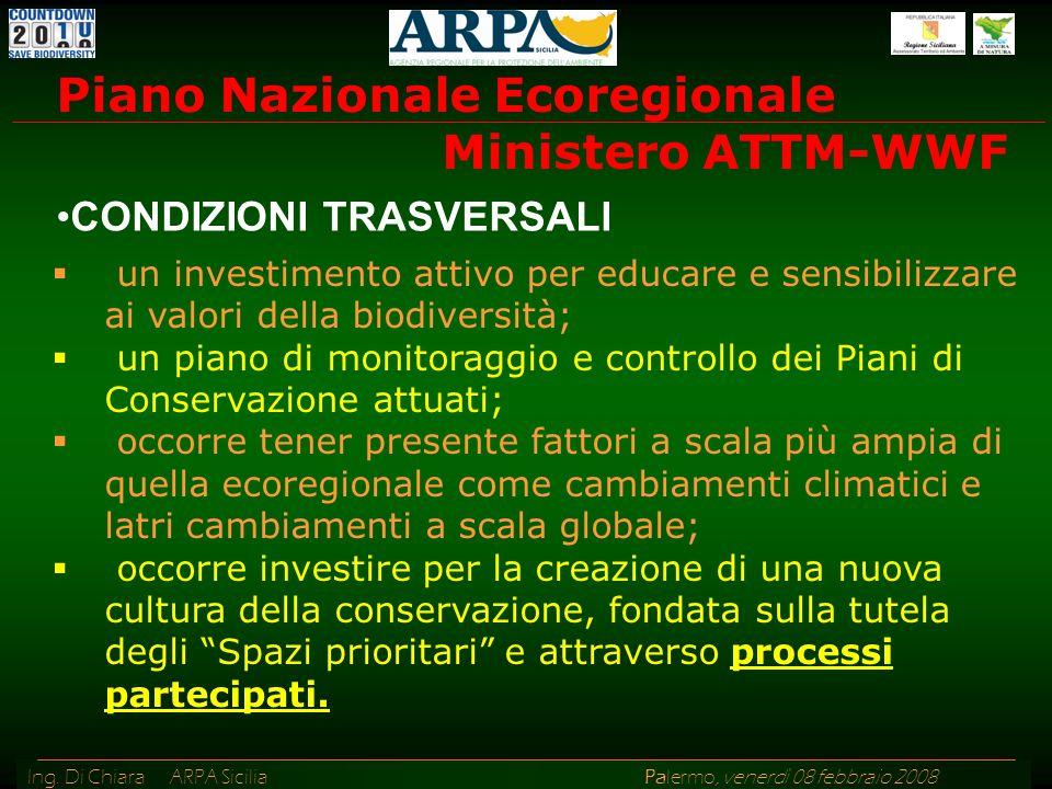 Ing. Di Chiara ARPA Sicilia Palermo, venerdì 08 febbraio 2008 un investimento attivo per educare e sensibilizzare ai valori della biodiversità; un pia