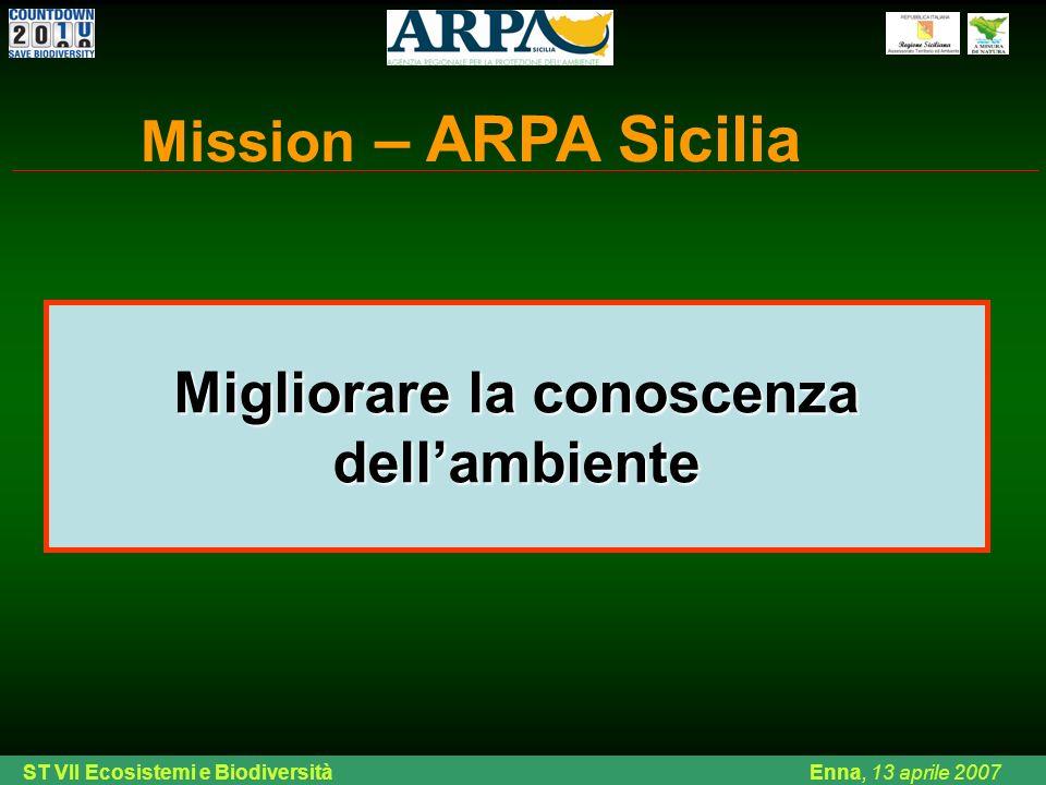 Ing. Di Chiara ARPA Sicilia Palermo, venerdì 08 febbraio 2008 Migliorare la conoscenza dellambiente Mission – ARPA Sicilia ST VII Ecosistemi e Biodive