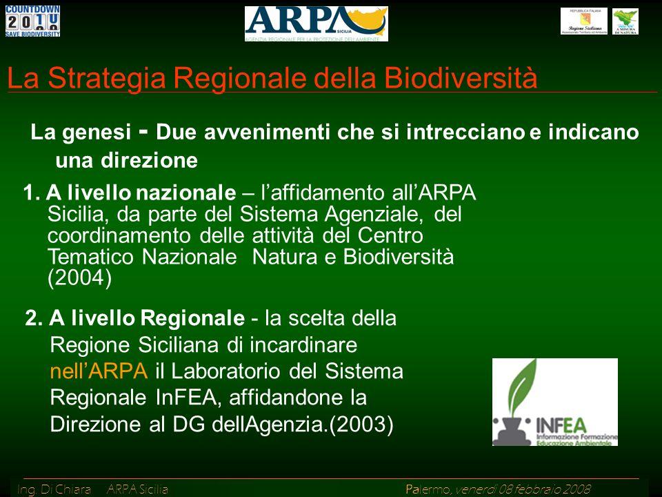 Ing. Di Chiara ARPA Sicilia Palermo, venerdì 08 febbraio 2008 La Strategia Regionale della Biodiversità 2. A livello Regionale - la scelta della Regio