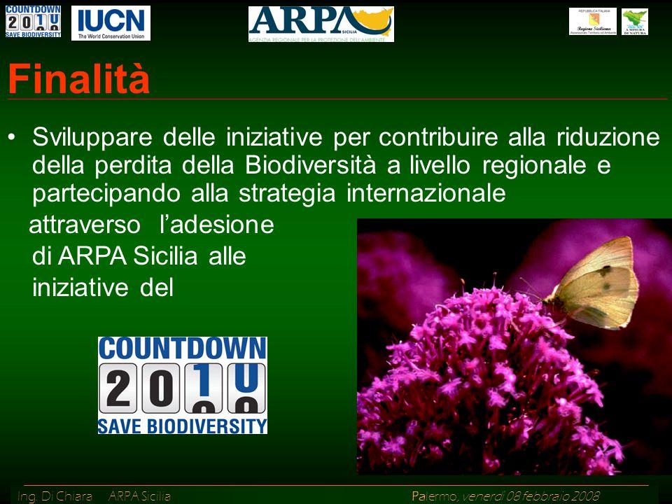 Ing. Di Chiara ARPA Sicilia Palermo, venerdì 08 febbraio 2008 Finalità Sviluppare delle iniziative per contribuire alla riduzione della perdita della