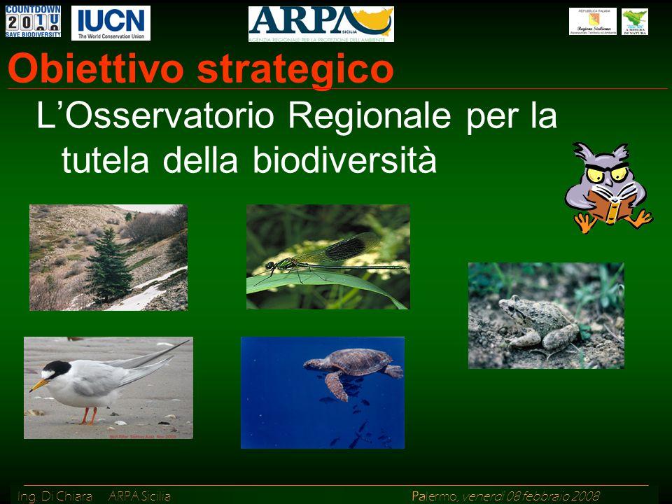 Ing. Di Chiara ARPA Sicilia Palermo, venerdì 08 febbraio 2008 Obiettivo strategico LOsservatorio Regionale per la tutela della biodiversità