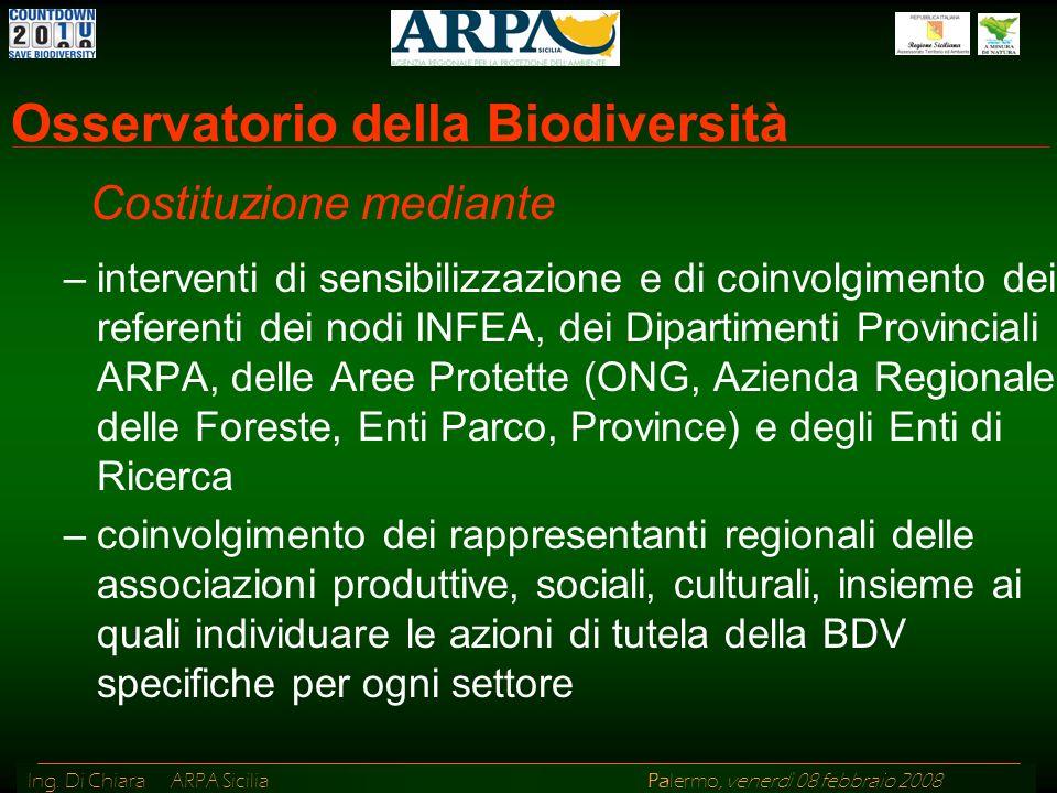 Ing. Di Chiara ARPA Sicilia Palermo, venerdì 08 febbraio 2008 Osservatorio della Biodiversità –interventi di sensibilizzazione e di coinvolgimento dei