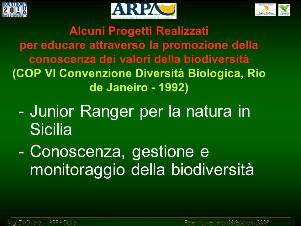 Ing. Di Chiara ARPA Sicilia Palermo, venerdì 08 febbraio 2008 Alcuni Progetti Realizzati per educare attraverso la promozione della conoscenza dei val