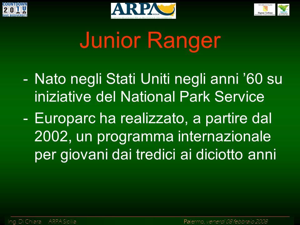 Ing. Di Chiara ARPA Sicilia Palermo, venerdì 08 febbraio 2008 Junior Ranger -Nato negli Stati Uniti negli anni 60 su iniziative del National Park Serv