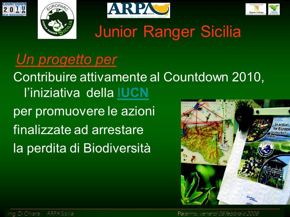 Ing. Di Chiara ARPA Sicilia Palermo, venerdì 08 febbraio 2008 Junior Ranger Sicilia Contribuire attivamente al Countdown 2010, liniziativa della IUCNI
