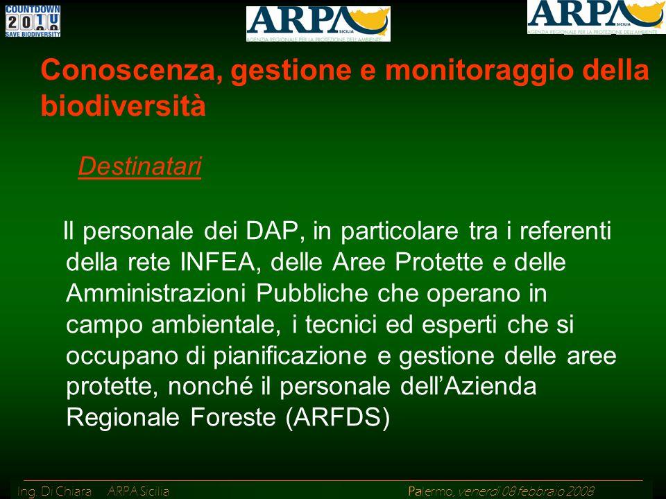 Ing. Di Chiara ARPA Sicilia Palermo, venerdì 08 febbraio 2008 Il personale dei DAP, in particolare tra i referenti della rete INFEA, delle Aree Protet
