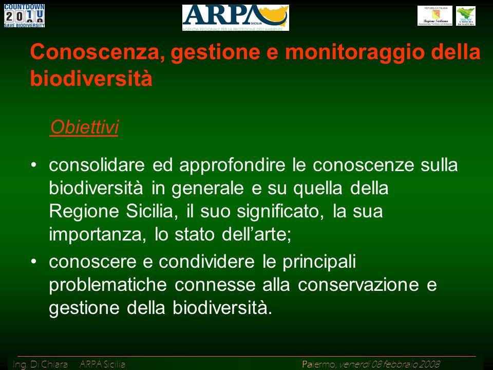 Ing. Di Chiara ARPA Sicilia Palermo, venerdì 08 febbraio 2008 consolidare ed approfondire le conoscenze sulla biodiversità in generale e su quella del