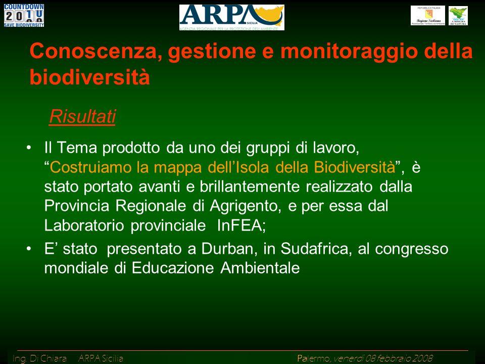 Ing. Di Chiara ARPA Sicilia Palermo, venerdì 08 febbraio 2008 Il Tema prodotto da uno dei gruppi di lavoro,Costruiamo la mappa dellIsola della Biodive