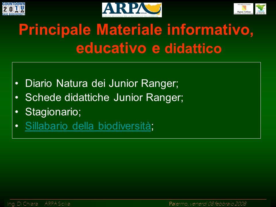 Ing. Di Chiara ARPA Sicilia Palermo, venerdì 08 febbraio 2008 Principale Materiale informativo, educativo e didattico Diario Natura dei Junior Ranger;