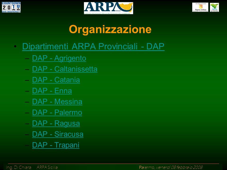 Ing. Di Chiara ARPA Sicilia Palermo, venerdì 08 febbraio 2008 Dipartimenti ARPA Provinciali - DAP –DAP - AgrigentoDAP - Agrigento –DAP - Caltanissetta