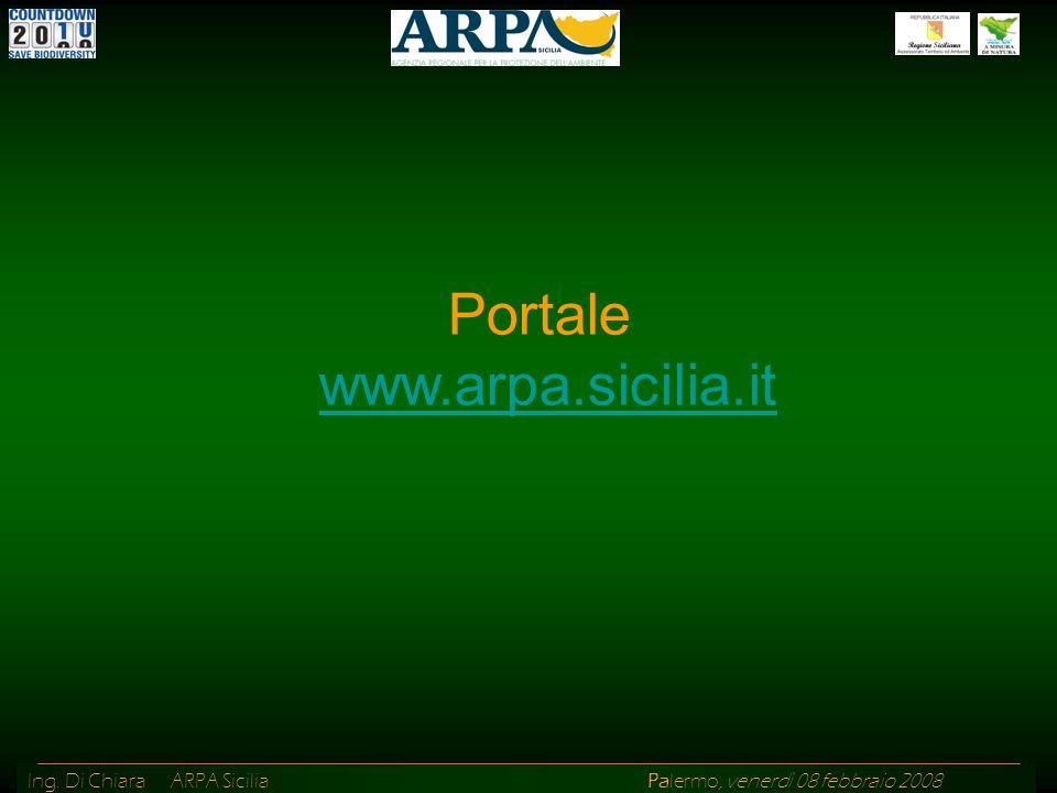 Ing. Di Chiara ARPA Sicilia Palermo, venerdì 08 febbraio 2008 Portale www.arpa.sicilia.it