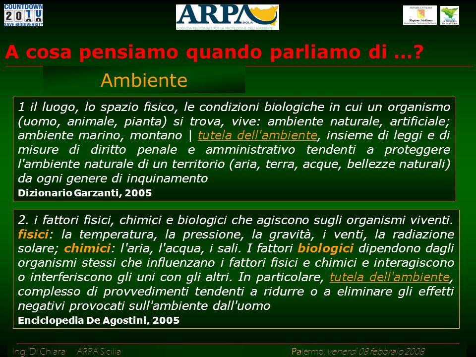 Ing. Di Chiara ARPA Sicilia Palermo, venerdì 08 febbraio 2008 1 il luogo, lo spazio fisico, le condizioni biologiche in cui un organismo (uomo, animal