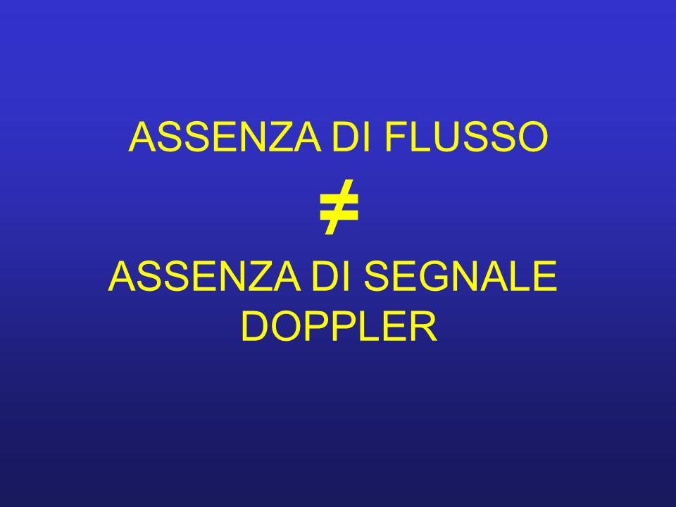 ASSENZA DI FLUSSO ASSENZA DI SEGNALE DOPPLER