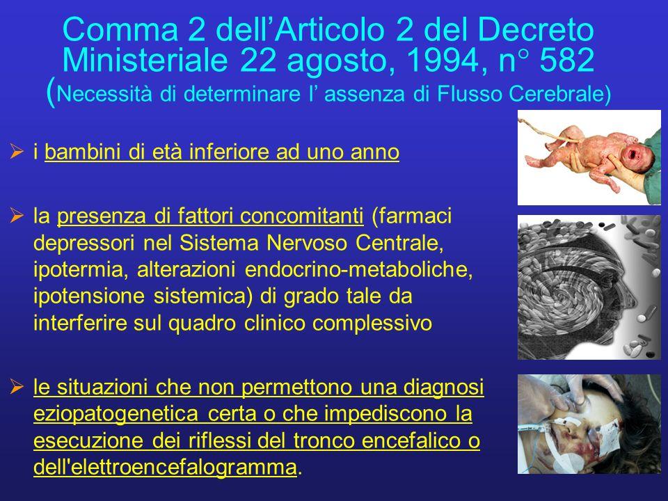 Comma 2 dellArticolo 2 del Decreto Ministeriale 22 agosto, 1994, n° 582 ( Necessità di determinare l assenza di Flusso Cerebrale) i bambini di età inf