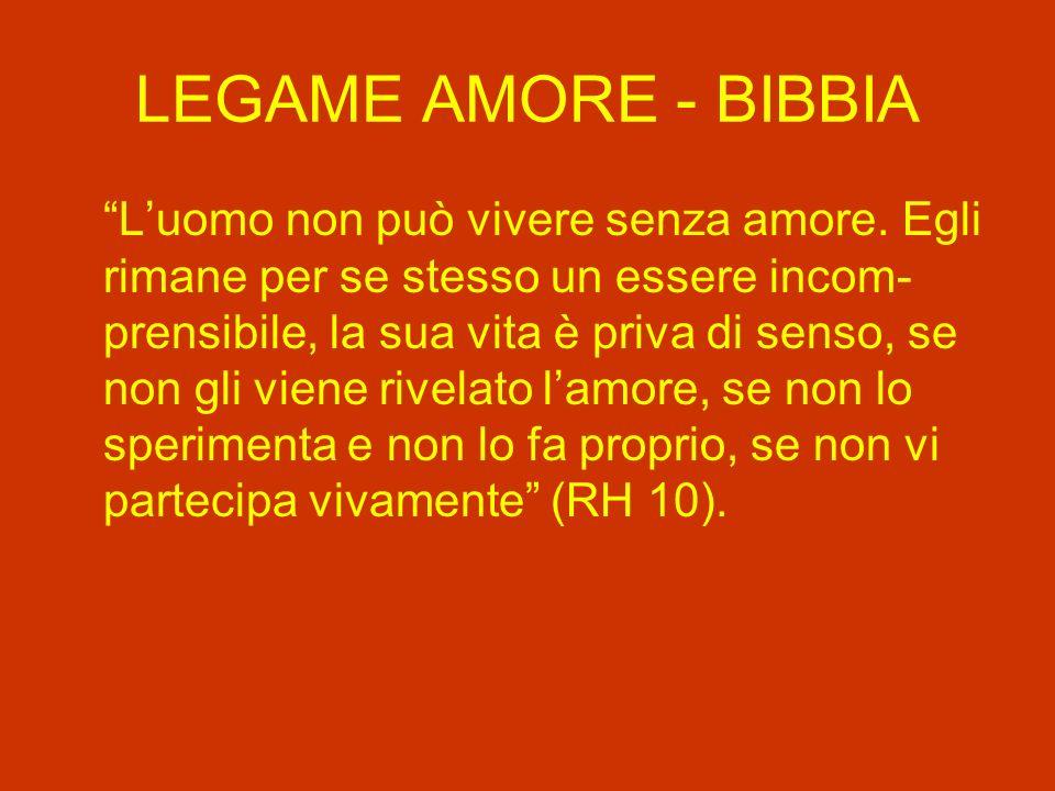 LEGAME AMORE - BIBBIA Luomo non può vivere senza amore.