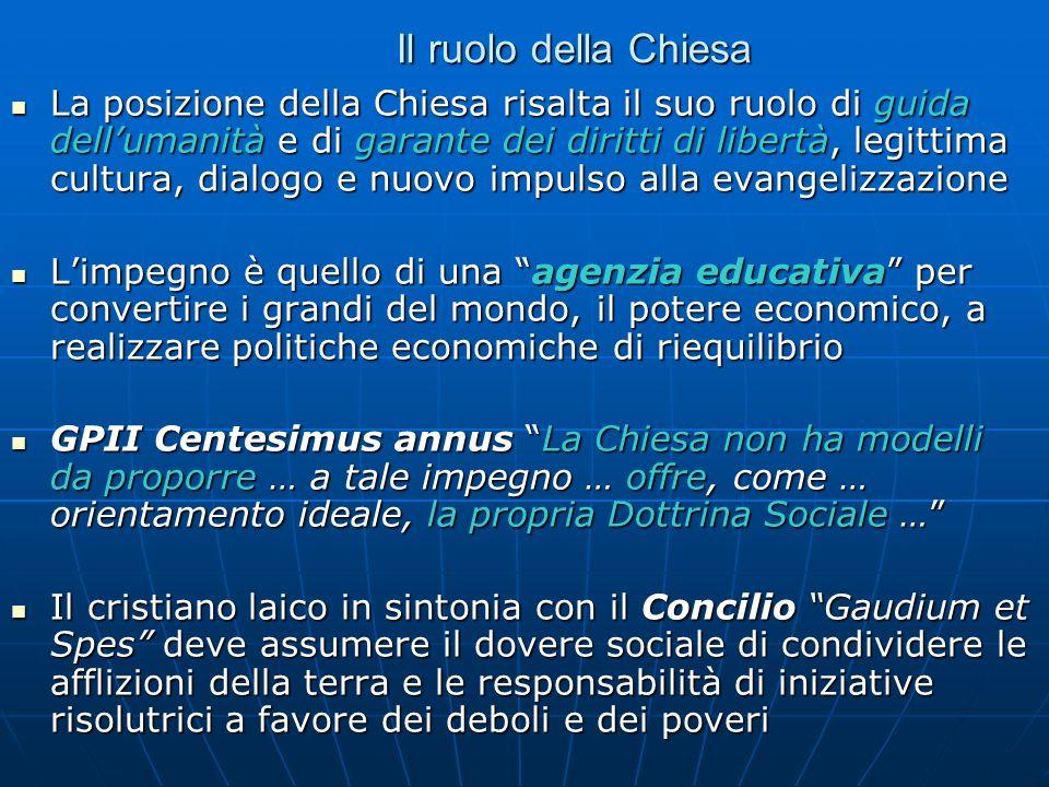 Il ruolo della Chiesa La posizione della Chiesa risalta il suo ruolo di guida dellumanità e di garante dei diritti di libertà, legittima cultura, dial