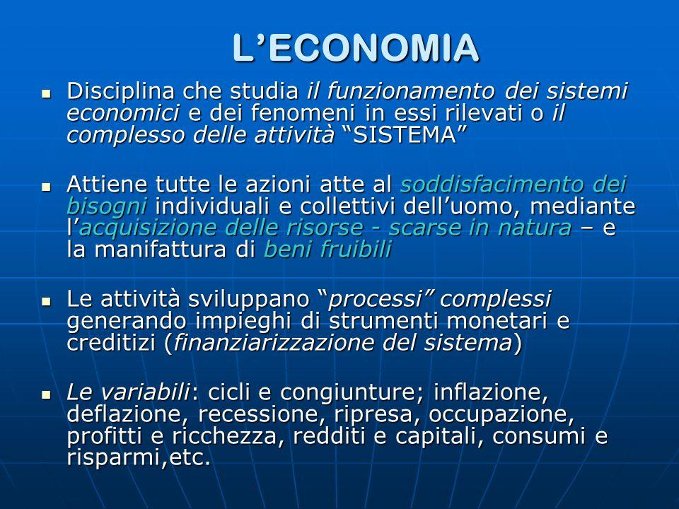 LECONOMIA Disciplina che studia il funzionamento dei sistemi economici e dei fenomeni in essi rilevati o il complesso delle attività SISTEMA Disciplin