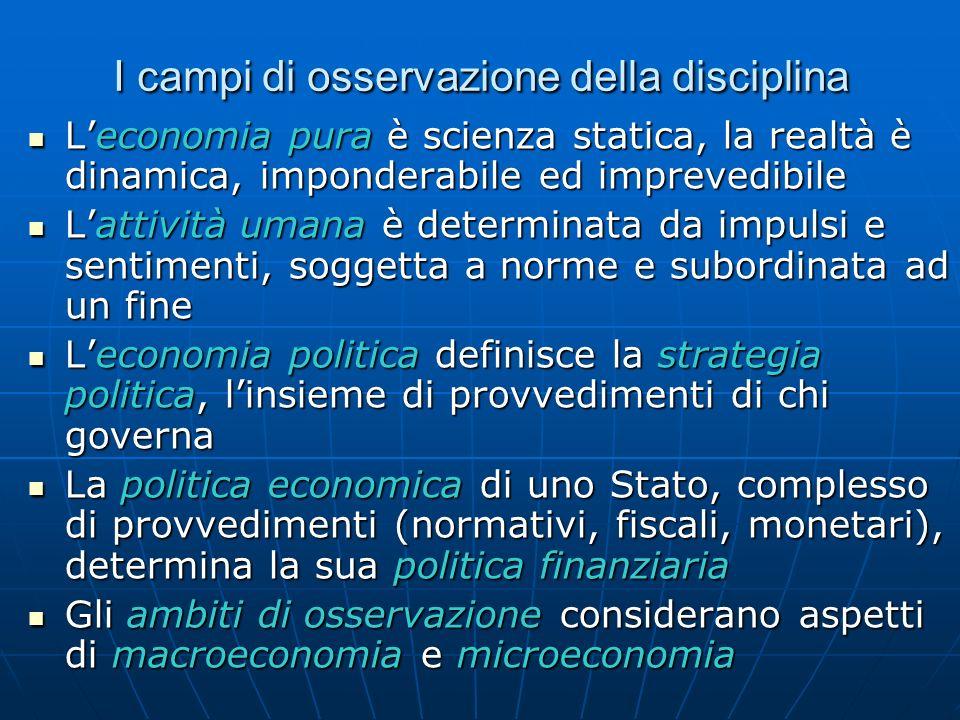 I campi di osservazione della disciplina Leconomia pura è scienza statica, la realtà è dinamica, imponderabile ed imprevedibile Leconomia pura è scien