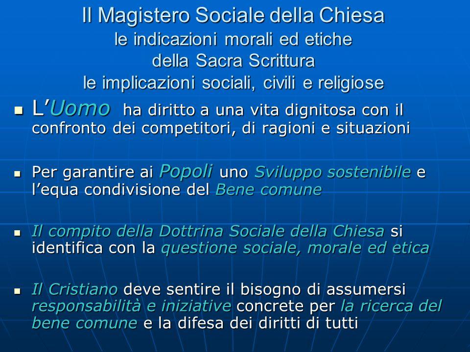 Il Magistero Sociale della Chiesa le indicazioni morali ed etiche della Sacra Scrittura le implicazioni sociali, civili e religiose LUomo ha diritto a