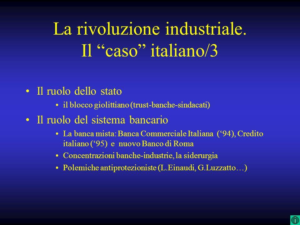 La rivoluzione industriale. Il caso italiano/3 Il ruolo dello stato il blocco giolittiano (trust-banche-sindacati) Il ruolo del sistema bancario La ba