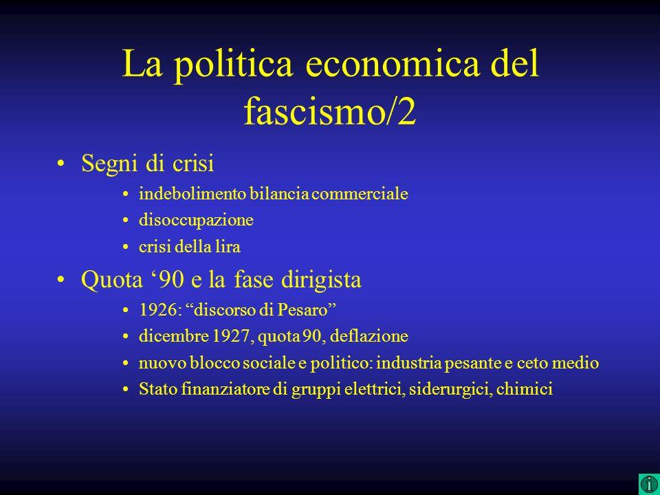 La politica economica del fascismo/2 Segni di crisi indebolimento bilancia commerciale disoccupazione crisi della lira Quota 90 e la fase dirigista 19