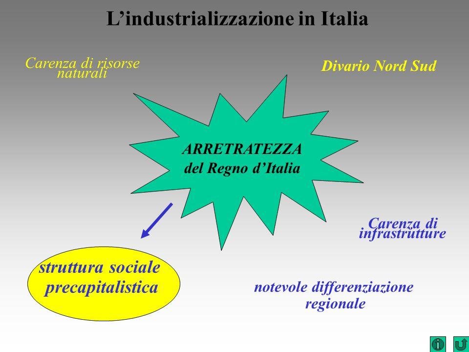 notevole differenziazione regionale Carenza di infrastrutture Divario Nord Sud Lindustrializzazione in Italia ARRETRATEZZA del Regno dItalia Carenza d
