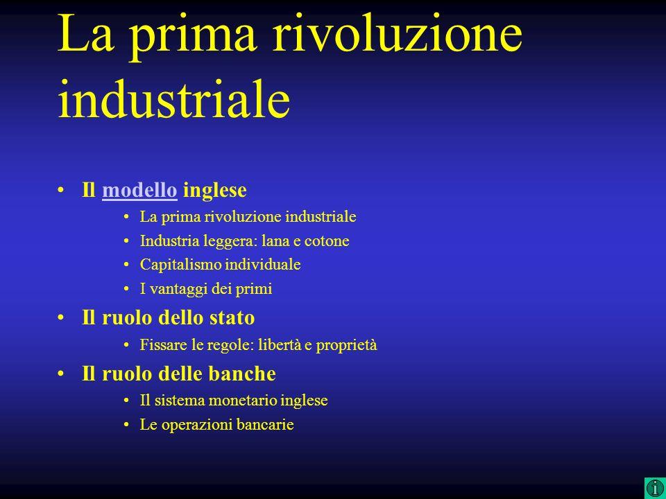 SETTORI STRATEGICITECNOLOGIA RUOLO DELLA BANCA VAPORE INNOVAZIONI ARTIGIANALI LANA COTONE CARBONE OPERAZIONI A BREVE TERMINE (SCONTO CAMBIARIO) FORMA DELLIMPRESA INDIVIDUALE MODALITA DI FINANZIAMENTOI AUTOFINANZIAMENTO INDUSTRIALIZZAZIONE IL MODELLO INGLESE