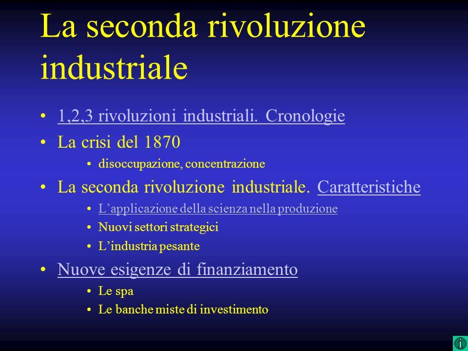 La seconda rivoluzione industriale 1,2,3 rivoluzioni industriali. Cronologie La crisi del 1870 disoccupazione, concentrazione La seconda rivoluzione i