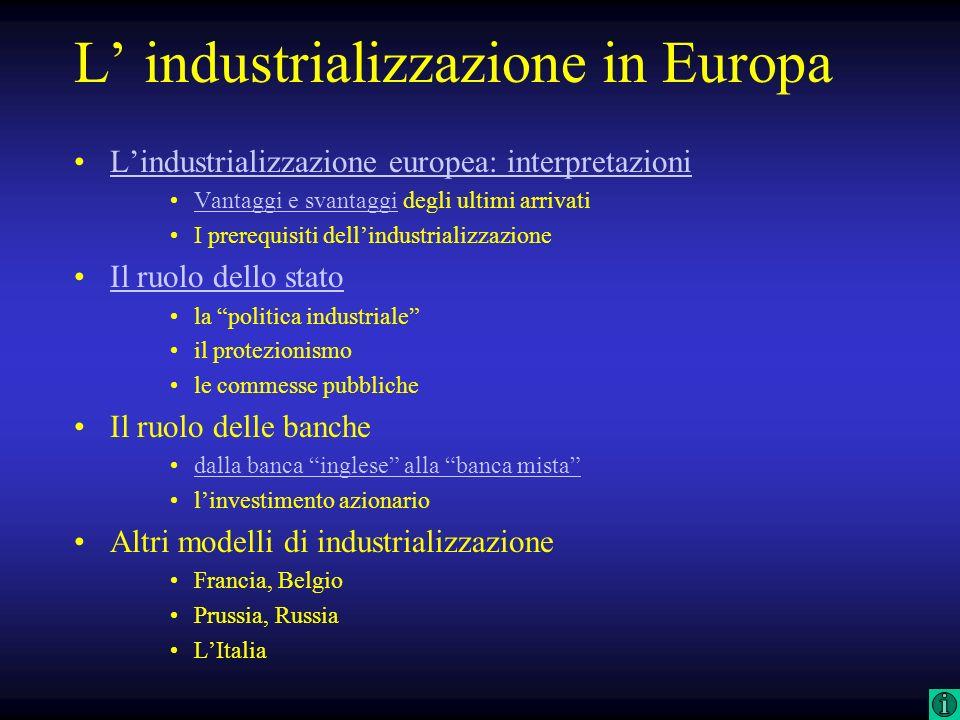 L industrializzazione in Europa Lindustrializzazione europea: interpretazioni Vantaggi e svantaggi degli ultimi arrivatiVantaggi e svantaggi I prerequ