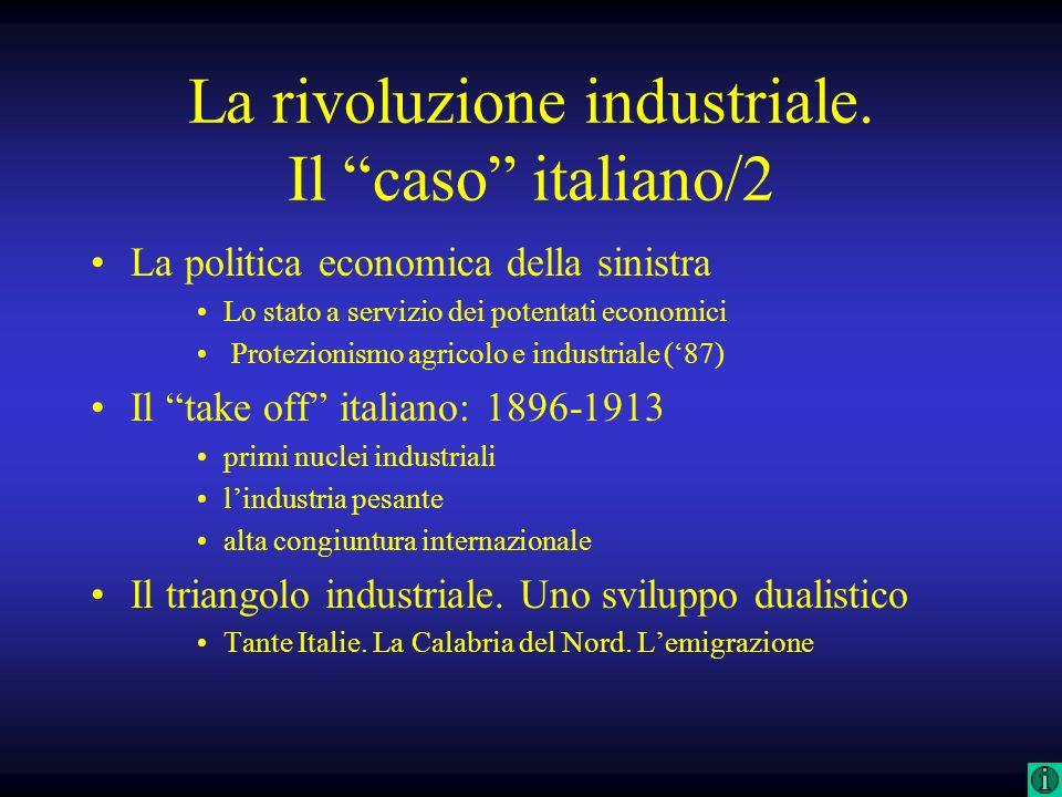La rivoluzione industriale. Il caso italiano/2 La politica economica della sinistra Lo stato a servizio dei potentati economici Protezionismo agricolo