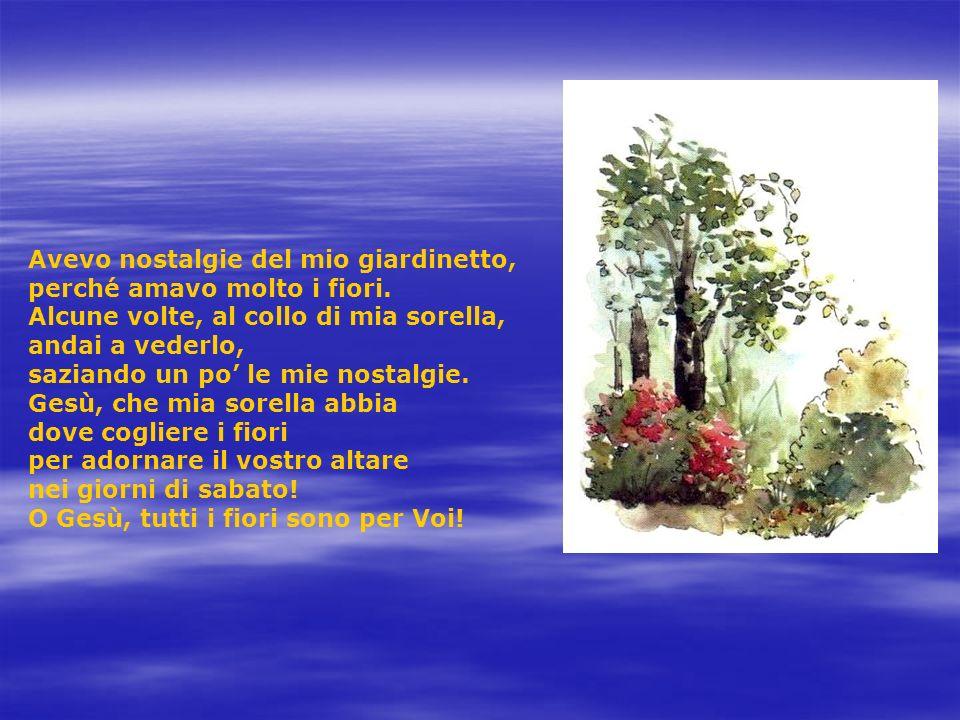 Avevo nostalgie del mio giardinetto, perché amavo molto i fiori. Alcune volte, al collo di mia sorella, andai a vederlo, saziando un po le mie nostalg