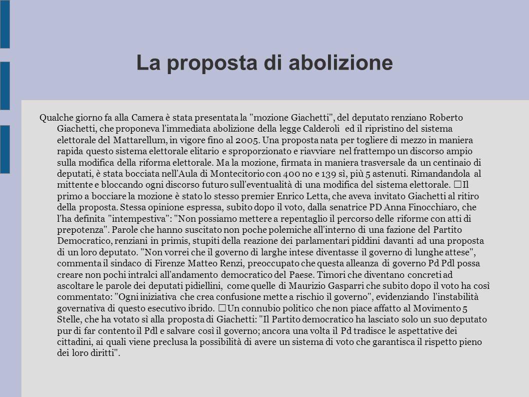 La proposta di abolizione Qualche giorno fa alla Camera è stata presentata la