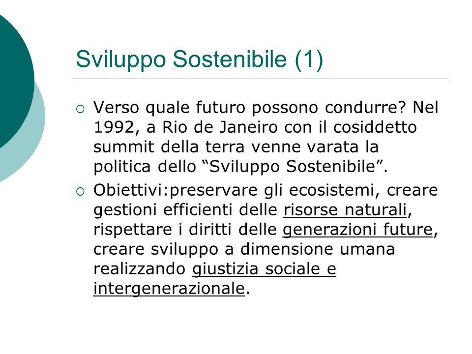 Sviluppo Sostenibile (1) Verso quale futuro possono condurre? Nel 1992, a Rio de Janeiro con il cosiddetto summit della terra venne varata la politica