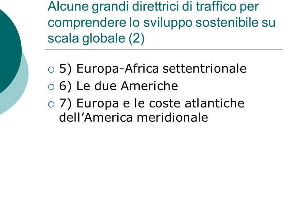 Alcune grandi direttrici di traffico per comprendere lo sviluppo sostenibile su scala globale (2) 5) Europa-Africa settentrionale 6) Le due Americhe 7