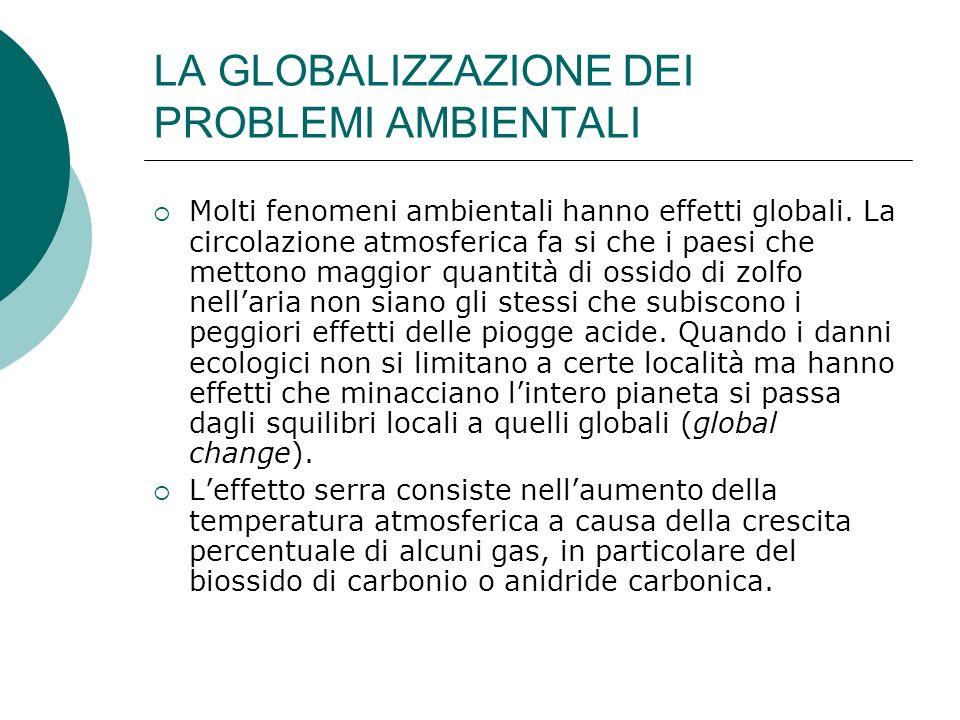 LA GLOBALIZZAZIONE DEI PROBLEMI AMBIENTALI Molti fenomeni ambientali hanno effetti globali. La circolazione atmosferica fa si che i paesi che mettono