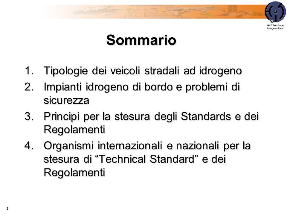 Sommario 1.Tipologie dei veicoli stradali ad idrogeno 2.Impianti idrogeno di bordo e problemi di sicurezza 3.Principi per la stesura degli Standards e dei Regolamenti 4.Organismi internazionali e nazionali per la stesura di Technical Standard e dei Regolamenti 3