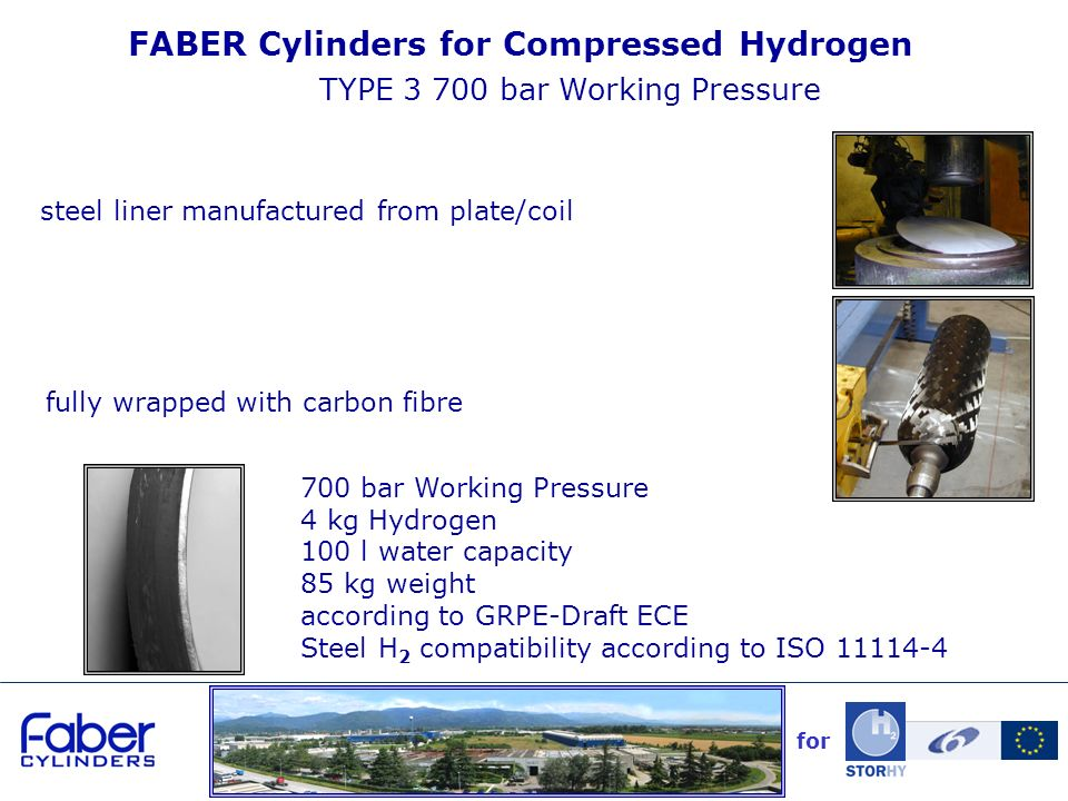 FABER Cylinders for Compressed Hydrogen TYPE 3 700 bar Working Pressure steel liner manufactured from plate/coil for 700 bar Working Pressure 4 kg Hydrogen 100 l water capacity 85 kg weight according to GRPE-Draft ECE Steel H 2 compatibility according to ISO 11114-4 fully wrapped with carbon fibre