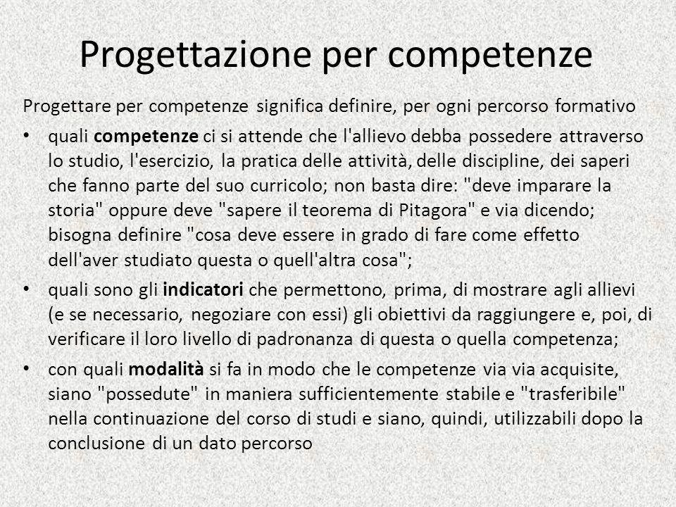 Progettazione per competenze Progettare per competenze significa definire, per ogni percorso formativo quali competenze ci si attende che l'allievo de