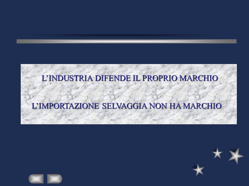 LINDUSTRIA DIFENDE IL PROPRIO MARCHIO LIMPORTAZIONE SELVAGGIA NON HA MARCHIO