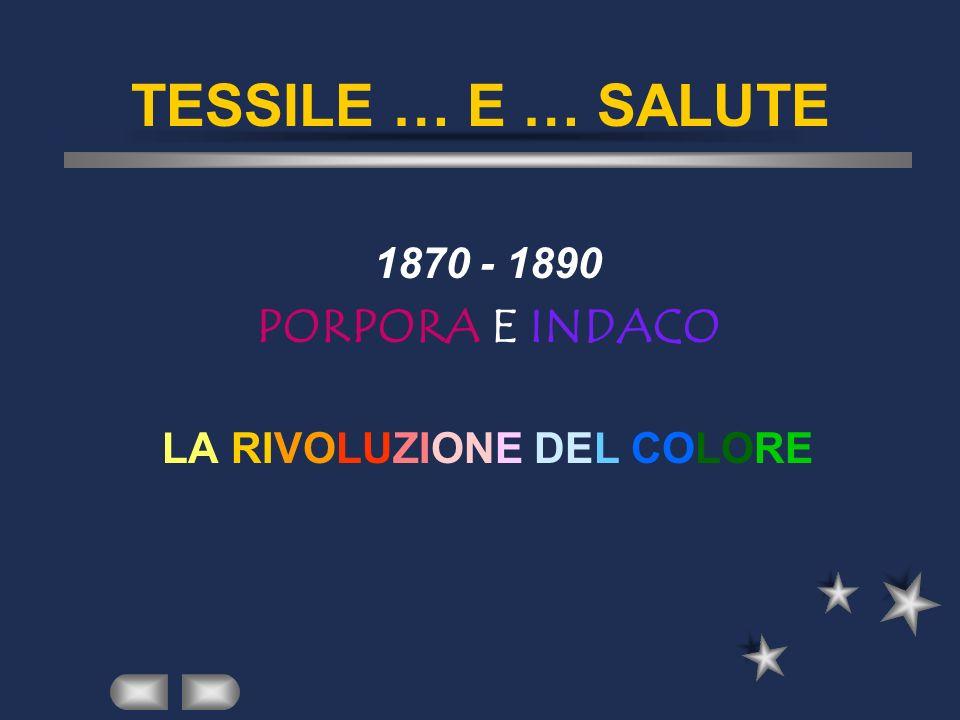 TESSILE … E … SALUTE 1870 - 1890 PORPORA E INDACO LA RIVOLUZIONE DEL COLORE