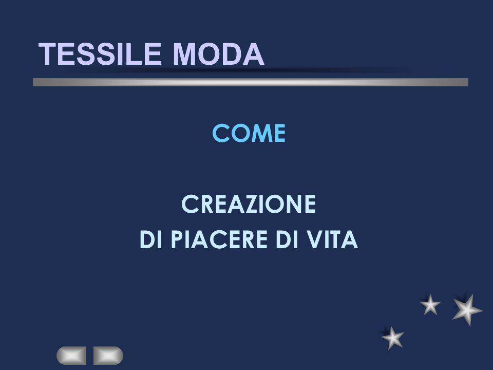 TESSILE MODA COME CREAZIONE DI PIACERE DI VITA